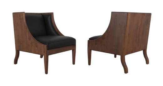 "735 Chair in ""Black Leather"" and ""Chestnut"" finish"