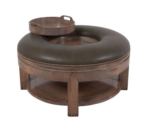 Lorts custom 9759 round ottoman in greystone