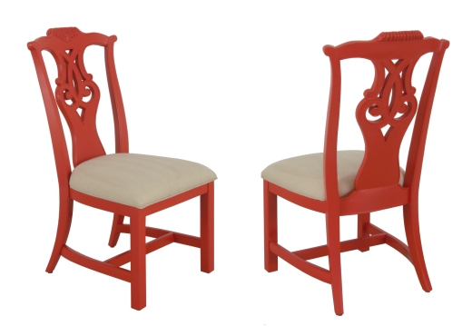 220101 Side Chair in Coral Finish with Oatmeal Fabric