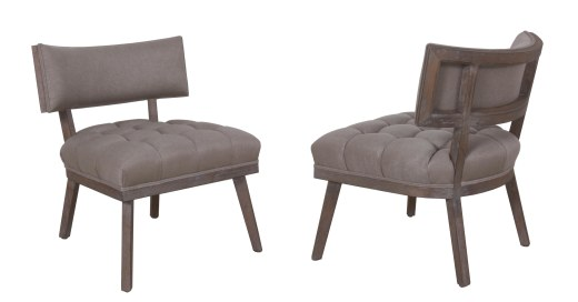 "743 tufted chair with ""Summit"" fabric and ""Slate"" premium technique"
