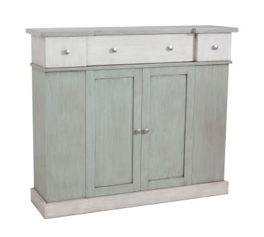 "7165 Chest in multi-finish ""Powder Blue"" with ""Marble"" as an accent color"