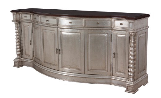 "9641 Buffet with silver leafing and the top finished in ""Old World"""