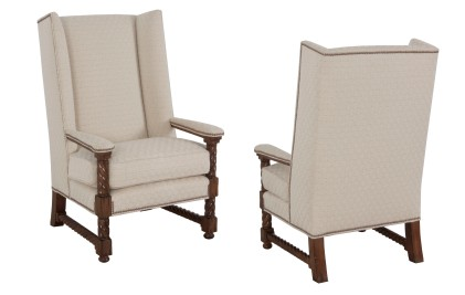 """861 Chair in COM and """"Chestnut"""" finish"""