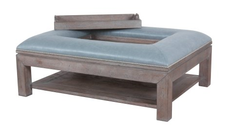 """9760 Ottoman in """"Slate"""" premium technique and COM """"Shooting Star"""""""