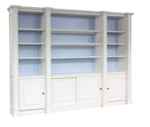 "Custom Wall Unit in ""Dove White"" and the back panel in a Sherwin-Williams color ""Bewitching Blue"""