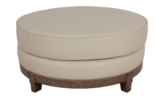 "879 Ottoman in ""Tan"" leather and ""Latte"" finish"