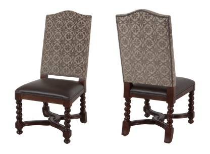 "Custom 9671 Side Chair in COM (back), ""Black Bean"" leather (seat), pewter nailheads, and ""Old World"" finish"