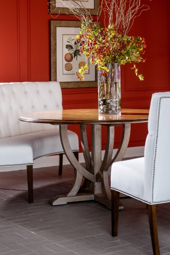 8615 Table Base with a 8554 Tabletop and two 874 Rounded Banquettes