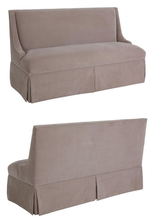 "873 Banquette in ""Grey Velvet"" fabric (with skirt option) and ""Chestnut"" finish"
