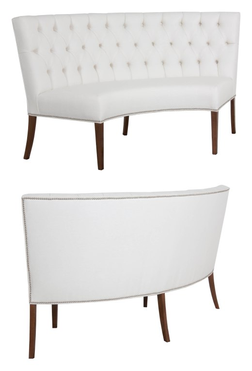 "874 Rounded Banquette in ""Summer White"" fabric  (with tufted back option) and ""Chestnut"" finish"