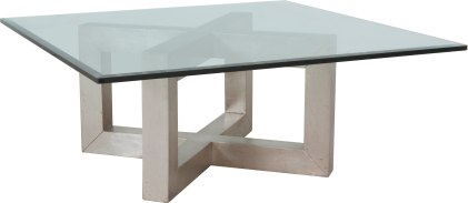 """2116 Cocktail Table Base in """"Silver Leaf"""" with a 2119 Beveled Glass Tabletop"""