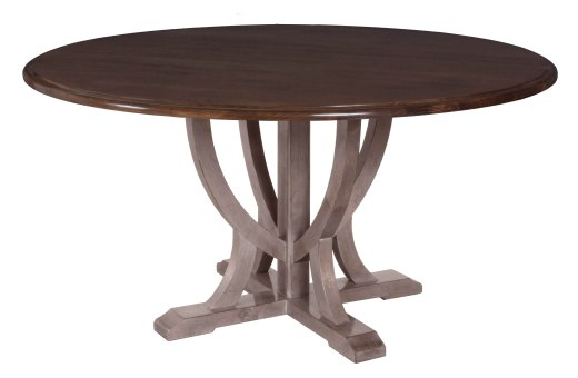 "8615 Dining Table Base in ""Greystone"" with a 8560 Dining Tabletop in ""Chestnut"""
