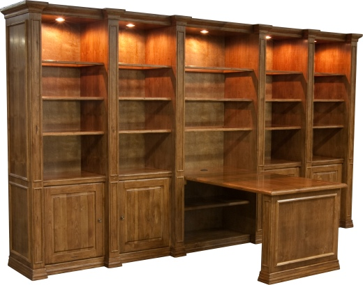 """Custom Traditional Molding Wall Unit with 1248 desk in """"Villager"""""""