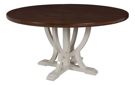"8460 Dining Tabletop in ""Chestnut"" with a 8615 Table Base in ""Cream Mist"""