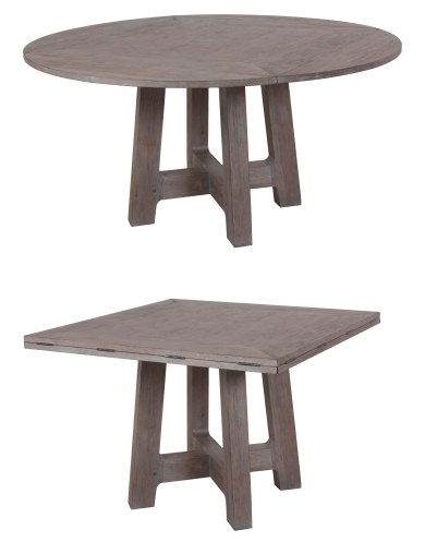 "2105 Square-to-Round Dining Tabletop and 8611 Dining Table   Base both in the ""Slate"" premium technique"