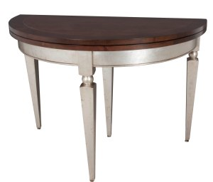 "7103 Demilune Table with the top in ""Old World"" and the base in ""Silver Leaf"""