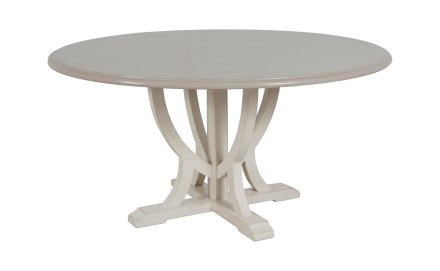 "8560 Dining Tabletop in ""Morning Mist"" and  8625 Dining Table   Base in ""Cream Mist"""