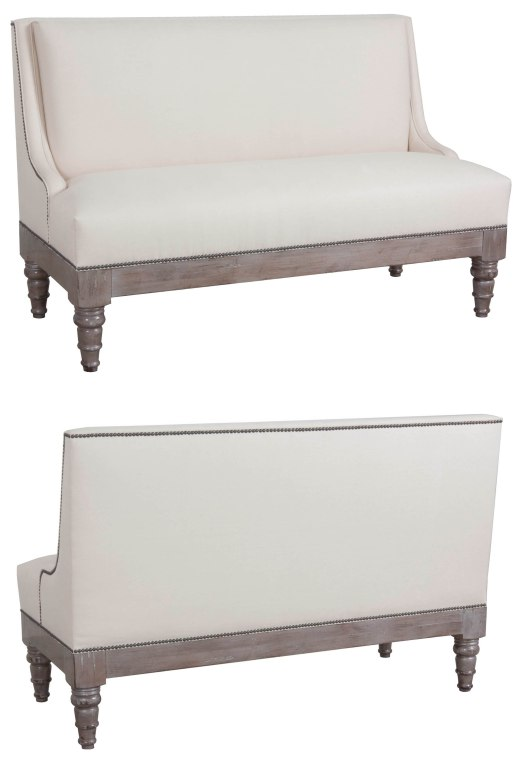 "873 Banquette in ""Greystone"" finish and ""Steamed Milk"" fabric"