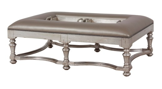 "9757 Ottoman in ""Silver Leaf"" and COM"