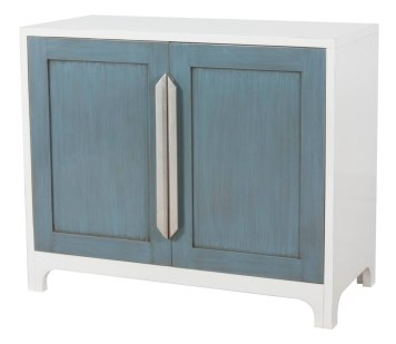 "4317 Chest in ""Dove White"" and ""Sky Blue"" with ""Silver Leaf"" door handles"
