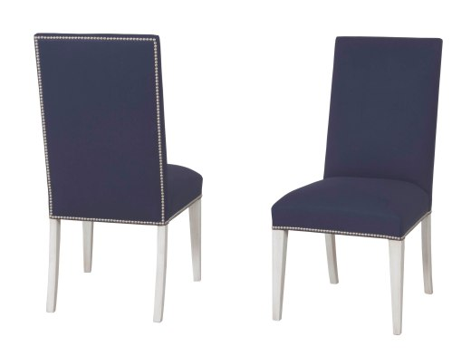 "7905 Side Chair in ""Marble"" finish and ""Indigo"" fabric"