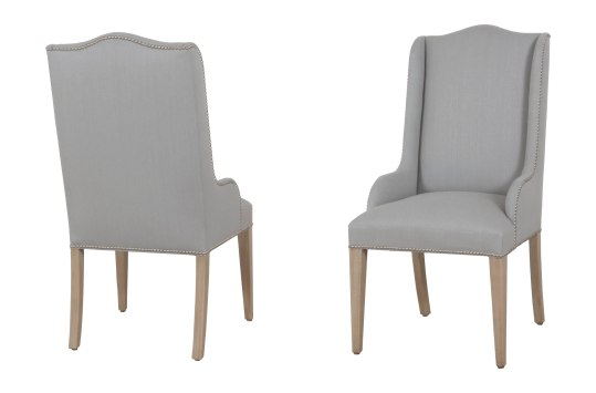 "7906 Arm Chairs in ""Harvest"" finish and ""Silver Mist"" fabric"
