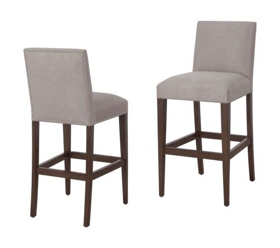 "7943 Barstools in ""Mink"" finish and ""Summit"" fabric"