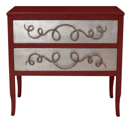 "4309 Chest in ""Jewel Red"" with ""Silver Leaf"" drawer fronts and the hardware finished in ""Umber"""