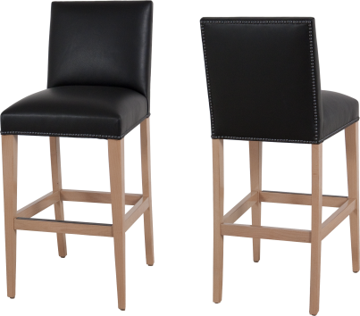 "7943 Barstool in ""Wheat"" and ""Simple Black"" leather"