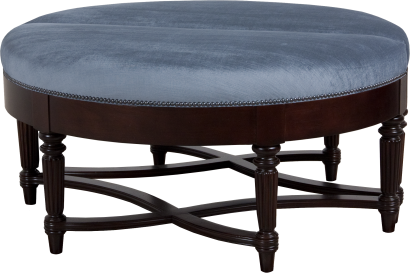 "870104 Ottoman in ""Walnut"" and COM ~ Two shown pushed together"