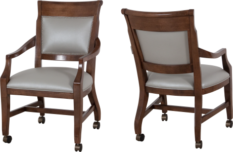 "9828 Game Chair in ""Chestnut"" and ""Pearl"" leather"