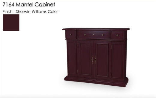 Lorts 7164 Mantel Cabinet finished in a Sherwin-Williams color, SW7577 Blackberry