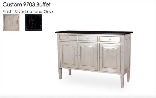 Lorts Custom 9703 Buffet in Onyx and Silver Leaf