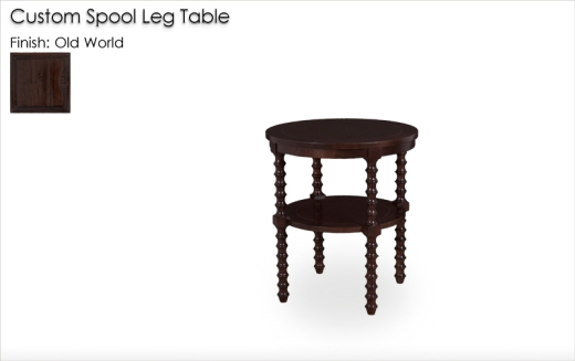 Lorts Custom Spool Leg Table in Old World