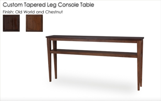 Custom Lorts 3689 Tapered Leg Console Table in Old World and   Chestnut