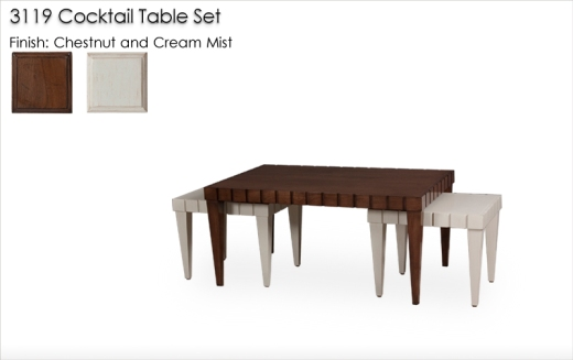 Lorts 3119 3 Piece Tapered Leg Cocktail Table Set in Cream Mist and Chestnut