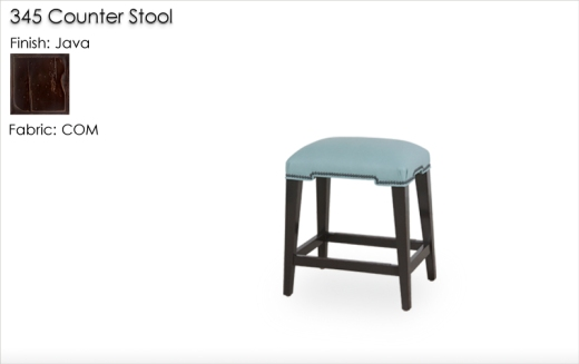 Lorts 345 Upholstered Clean-Lined Backledss Counter Stools in Java Finish and Customers Own Material