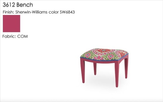 Lorts 3612 Tapered Leg Bench Finished in a Sherwin Williams color and customers own fabric material