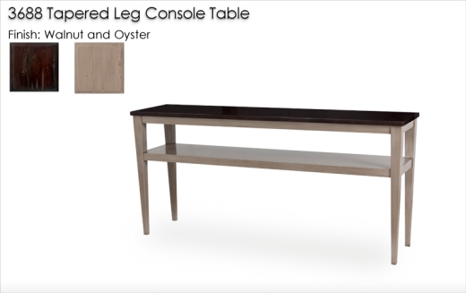 Lorts 3688 Tapered Leg Console Table in Multiple Finishes Walnut and Oyster