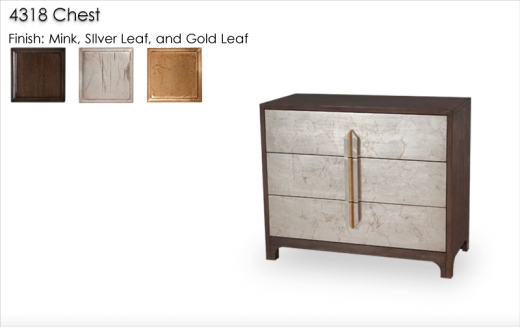 Lorts 4318 Three Drawer Chest with wood handles in Multiple Finishes Silver Leafin on the drawer fronts, sliver and gold leaf handles, and outter caseing finished in Mink finish.