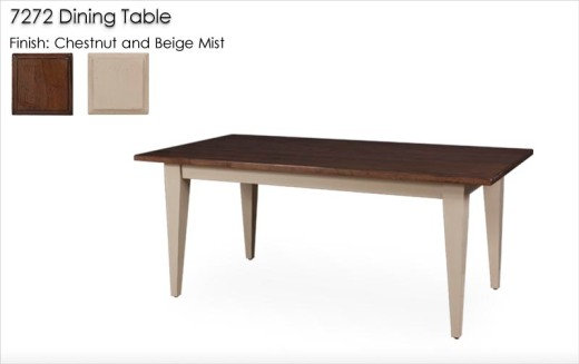 Lorts 7272 Tapered Leg Dining Table in Multi-Finish Chestnut and Beige Mist