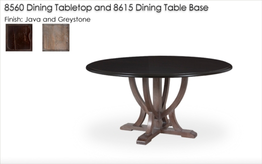 Lorts 8615 Urn Shaped Dining Table Base in Greystone with a 60 Inch 8560 Round Dining Tabletop in Java
