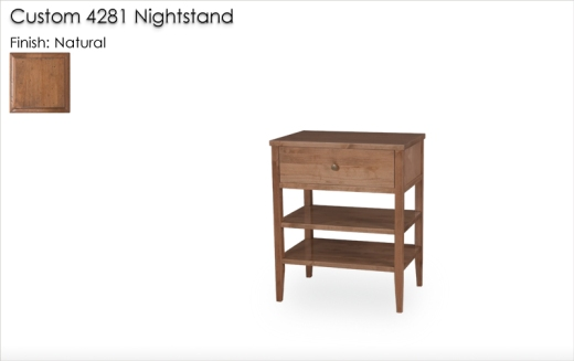 Lorts 4281 Nighstand with custom hardware and finished in Natural Finish
