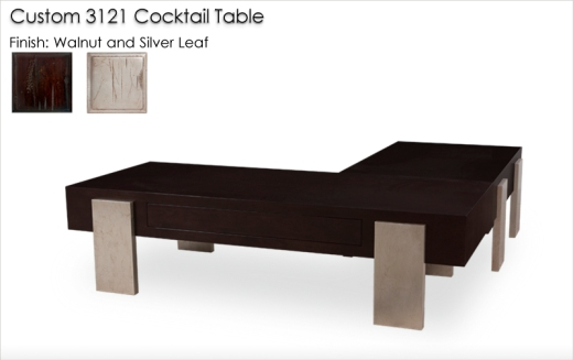 Lorts Custom L-Shaped 3121 Cocktail Table in Walnut and Silver Leafing