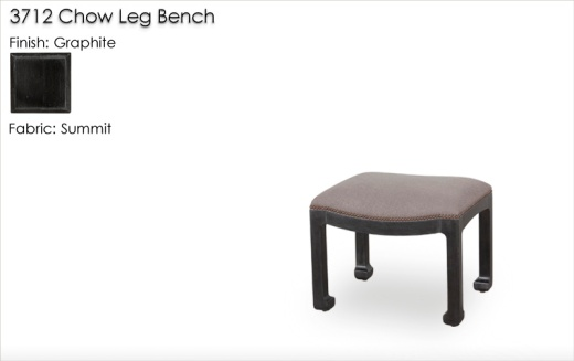 Lorts 3712 Chow Leg Bench finished in Graphite and upholstered with Lorts Summit fabric