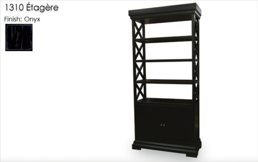 Lorts 1310 Etagere finished in Onyx with Classic Distress. Order   Number 200771-L001