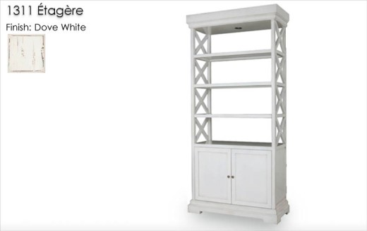 Lorts 1311 Etagere finished in Dove White with Standard Distress. Order Number 179489.