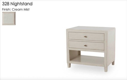 Lorts 328 Nightstand finished in Cream Mist with   Standard Distress and Statin Wax. Hardware finished in Umber metal finish. Order Number 199348-  1