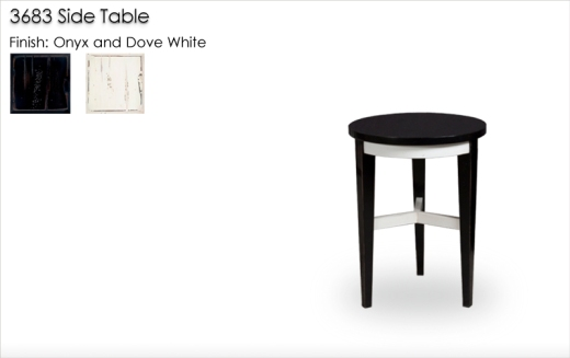 Lorts 3683 Chairside Table finished in Onyx and Dove White with   Standard Distree and High Gloss Wax. Order Number 194673-L025
