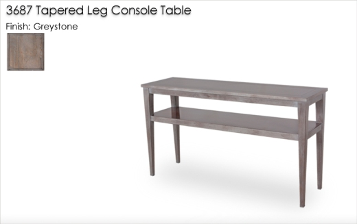 Lorts 3687 Tapered Leg Console Table finished in Greystone with Standard Distress and Hgh Gloss Wax. Order Number 200731-L1